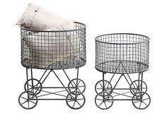Asst of 2 Laundry Baskets w/ Wheels $159.00
