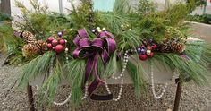 Christmas Window Box with purples and golds