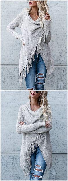 Grey Tassel Details Long Sleeves Sweater Outerwear #winterfashion