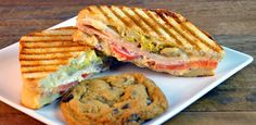 OMG! Chicken Artichoke Panini with sliced chicken, artichoke hearts, Swiss cheese, tomato and course mustard grilled on sourdough bread. #woodycreek #lunch #panini
