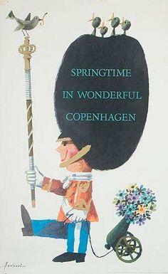 Springtime in Wonderful Copenhagen, Denmark - vintage travel poster