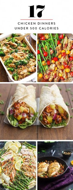 These 17 chicken dinner recipes are mouthwateringly delicious and?not one tops 500 calories per serving. 600 Calorie Dinner, 600 Calorie Meals, No Calorie Foods, Low Calorie Recipes, Chicken Recipes Under 500 Calories, Dinners Under 500 Calories, Healthy Recipes, Diet Recipes, Healthy Meals