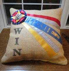 18x18 Burlap Ribbon Pillow by Itsallabouthorses on Etsy