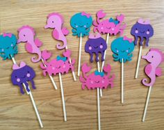 Mermaid Under the Sea Cupcake Toppers, Under the Sea Birthday Party, Under the Sea Shower, Mermaid Birthday Party Decorations Sea Cupcakes, Themed Cupcakes, Diy Sticker, Mermaid Theme Birthday, Under The Sea Party, Happy Birthday Banners, Alice, Party Printables, Cupcake Toppers