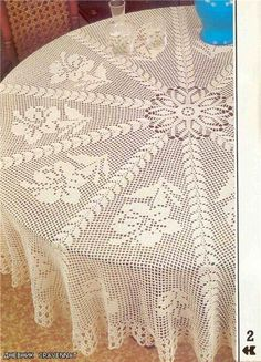 Giant hibiscus tablecoth, free crochet patterns Crochet Designs For Tablecloth From crocheted wall hangings to crochet table runners,. Crochet Tablecloth Pattern, Crochet Bedspread, Crochet Doilies, Crochet Round, Crochet Home, Free Crochet, Vintage Crochet Patterns, Crochet Designs, Magazine Crochet