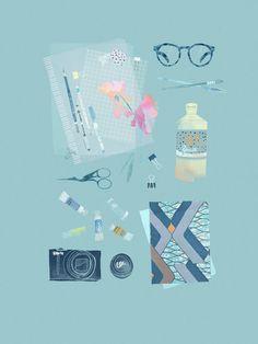 Babeth Lafon  Tiphaine-illustration #glasses #notebook #camera
