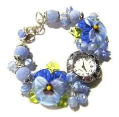 Women quartz glass lampwork watch The azure sky with handmade lampwork pansies made by Inna Kirkevich