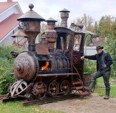 Steampunk Locomotive Barbecue Grill