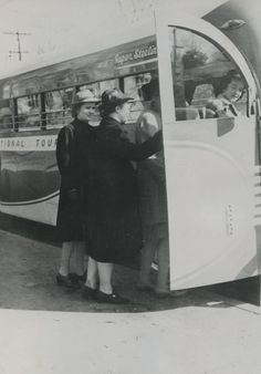 Freshman Vanderbilt nursing students board a chartered bus for a field trip to a local health agency. This is one of many such activities planned for the students during their study of community health and sanitation and principles of social work.