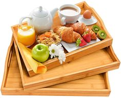 Serving Tray with Handles Wood Bamboo Trays for Food Breakfast PartyTea Coffee Table Ottoman Décor White Serving Tray, Serving Trays With Handles, Wooden Serving Trays, Serving Platters, Breakfast Time, Breakfast Recipes, Personalized Cheese Board, Meat Fruit, Portable Food