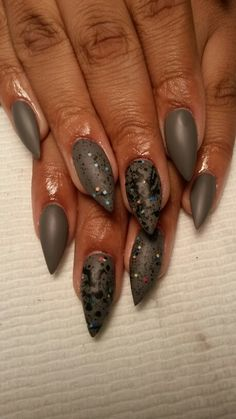 Matte finish stiletto Nails by me!!!