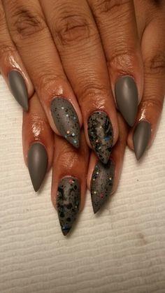 Matte finish stiletto Nails by me!!!