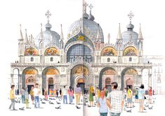Watercolor of the San Marco Basilica in Venice Watercolor Sketch, Watercolor Paintings, City Sketch, Building Painting, Venice Travel, Travel Illustration, Building Illustration, Urban Sketchers, World Best Photos