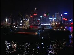 Chinese South Ocean, Hong Kong, Skyline (City Silhouette), Harbor, Reflection, Night, Metropolis (City), Stock Footage,