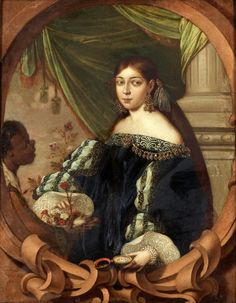 1682 Noblewoman at the age of 15 years with a servant by Cornelio Schut III (auctioned by Bukowskis)