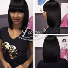 Cheap wig beauty, Buy Quality wig ring directly from China wig lace Suppliers:  8A Remy Lace Front Wig Bob Style Glueless Full Lace Wig With Bangs Short Bob Cut Wigs For Black Women Silky Straight 13
