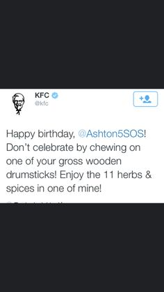 EVEN KFC SAID HAPPY BIRTHDAY TO ASH #HappyBirthdayAsh