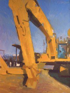 "©Frank Hobbs: ""Yellow Machine,"" oil on panel, 15 x 12 in."