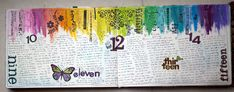 Step by step daily art journaling- this spread is done over 1 week. Totally doable!