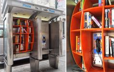 On the streets of New York architect John Locke has repurposed phone booths into communal libraries or book drops, installing bookshelves within the structures filled with books for residents to take, borrow, or exchange. John Locke, Mini Library, Little Library, Free Library, Community Library, Community Building, Community Service, Lending Library, Telephone Booth