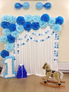 Baby first birthday decorations diy Ideas Baby Party, Baby Shower Parties, Baby Shower Themes, Baby Boy Shower, Shower Ideas, Diy Birthday Decorations, Balloon Decorations, Room Decorations, Boy First Birthday