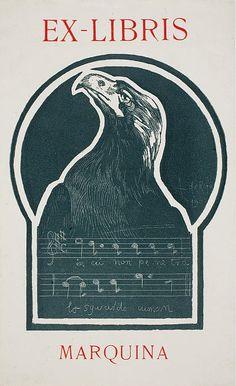 Book-plate Ex Libris Marquina  Alexandre de Riquer