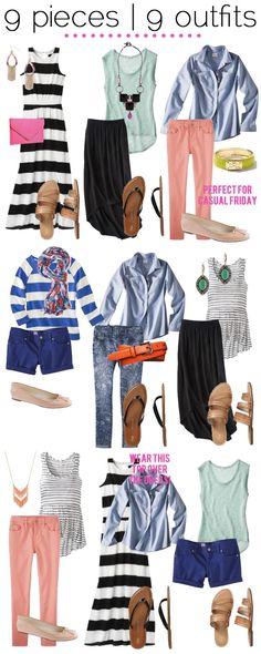 maxi dress + shorts + denim button-down + maxi skirt + pants + sandals