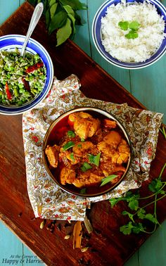 Sri Lankan Chicken Curry, Rice & Vegetable Stir Fry Meal
