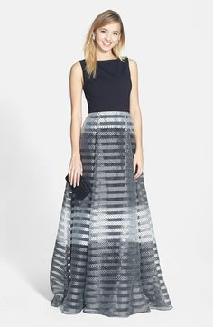 ERIN erin fetherston Shadow Stripe Ponte & Organza Gown available at #Nordstrom