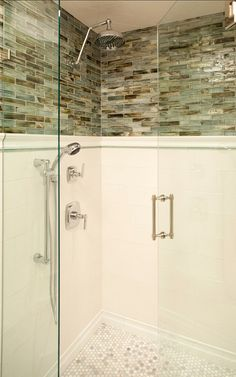 i love this shower layout with subway tile glass mosaic handmade chair rail and