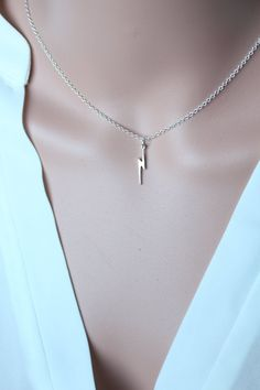 Lightning Bolt Necklace 925 Sterling Silver or 18K Gold by Shiny Little Blessings.