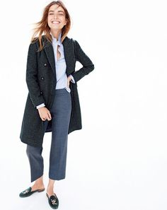 Great work look...J.Crew women's double-breasted coat in mini-check + favorite shirt in end-on-end + patio pant and Stubbs & Wootton® for J.Crew velvet mules