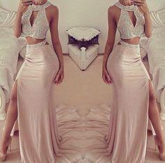 Sexy Halter Sleeveless Prom Dress With Front Split Beadings