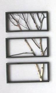 Frames and Branches= DIY decor.... Husband wants to do forest theme in living room