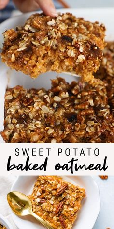 Inspired by my favorite fall casserole, this sweet potato baked oatmeal is loaded with sweet potato goodness and topped with a crispy pecan topping. It's also vegan and gluten-free. to eat flax seed recipes Healthy Breakfast Recipes, Healthy Snacks, Healthy Protein, Protein Bites, Brunch Recipes, Healthy Breakfast Cookies, Cranberry Recipes Healthy, Healthy Vegan Recipes, Oatmeal Breakfast Bars Healthy