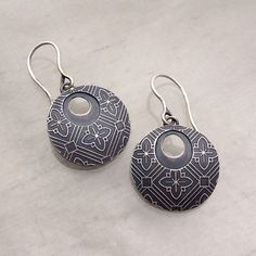 CarrieNunes - Etched  Floral Pattern Earrings  Carrie Nunes Jewelry #etsymetalteam