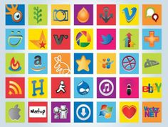34 Web2.0 Social Networking Logos Vector Icons For Web Design Projects #icons #social #design