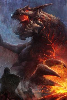 by ANG-angg hero fighter knight fire fireball lava magic realm monster beast creature animal Fantasy Concept Art, Fantasy Images, Fantasy Artwork, Dragon Rey, Fire Dragon, Magical Creatures, Fantasy Creatures, Magic Realms, Beast Creature