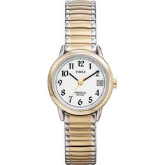 The easy to read display on this women's Timex watch make this a must-have accessory. The beautiful two-tone brass offers this watch a classy feel.