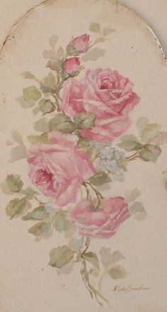 Shabby Chic Vintage Style Roses Cabinet