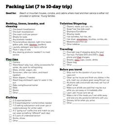 Free Download Travel Packing Checklist  Pack List Road Trips