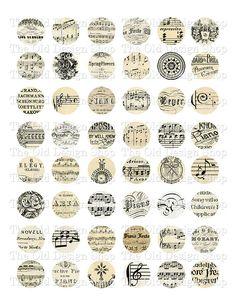 Vintage Music 1 Inch Circles Printable Digital by TheOldDesignShop, $4.00