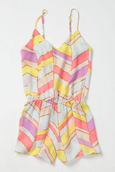 "Summer Chevrons Romper by Zinke  DETAILS Suitable for sleeping and for tossing over a bikini, Zinke's silky, neon-grosgrain-tied one-piece might be the only piece you need for a weekend getaway.  Adjustable straps Elasticized waist Silk Hand wash 31""L 2"" inseam USA Style No. 23906126"