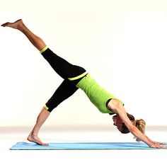 Try these 18 exercises that tighten and tone your legs from butt to ankles and everything in between, like this downward dog split. | Health.com