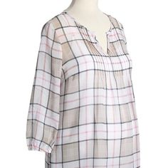 Maternity plaid sheer top Plaid sheer top. 100% polyester. Old Navy Tops