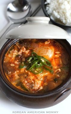 Korean American Mommy: Korean Soft Tofu Soup (순두부찌개) Use leftover marinated pork instead of beef for more nuanced flavoring.
