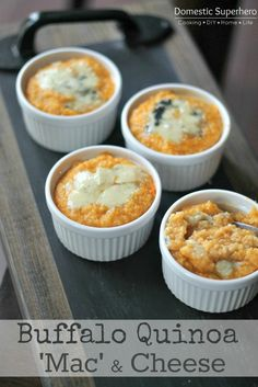 Buffalo Quinoa Mac and Cheese - 1-1/4 cups quinoa, rinsed and drained salt & pepper 2 Tablespoons flour 1-1/2 cups skim milk, divided 2 green onions, sliced 1/4 cup + 2 Tablespoons Frank's Buffalo Wing Sauce 1-1/2 cups shredded extra sharp cheddar cheese 1/4 cup blue cheese, crumbled