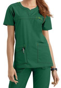 Wink-Medical-Scrub-Wonder-Flex-Hunter-Green-Curved-Notch-Neck-Top-Sz-XS-XXL-NWT Green Scrubs, Medical Scrubs, Nurse Scrubs, Scrubs Uniform, Scrub Tops, Hunter Green, V Neck Tops, Dresses For Work, Bridesmaids