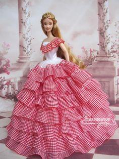 Elegant Victorian Party Barbie, Plaid Lace Dress Gown