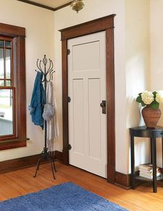 painted craftsman door with wood trim | DRUNKEN DIY – craftsman style doors